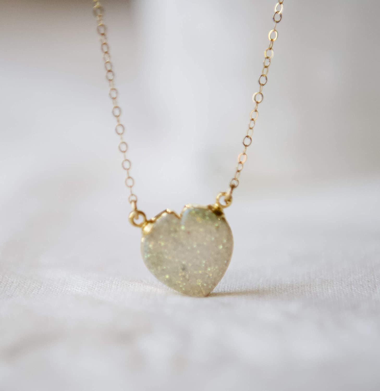 White Druzy Pearl Gold Leaf Charm Gold Filled Necklace