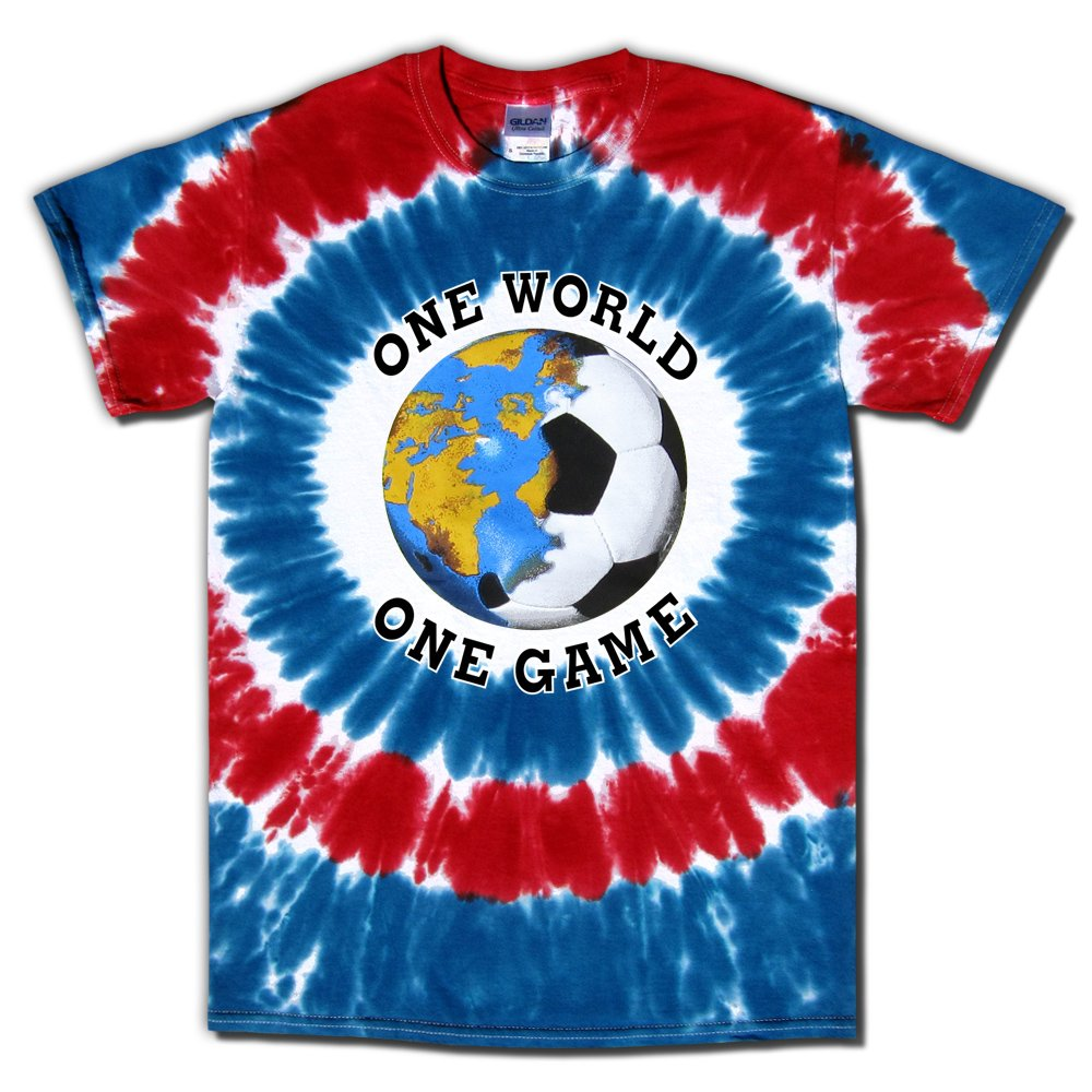 Soccer Tシャツ: One World Usa Tie Dye B076H8MH2QRed, White, Blue Adult Large