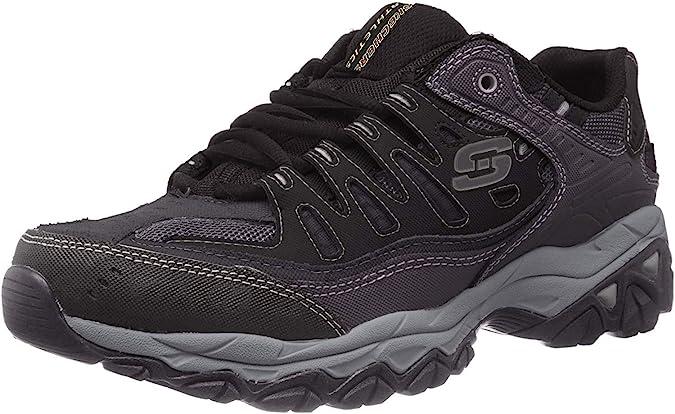 Skechers Mens After Burn Memory Fit Low Top Shoes Black: Amazon ...