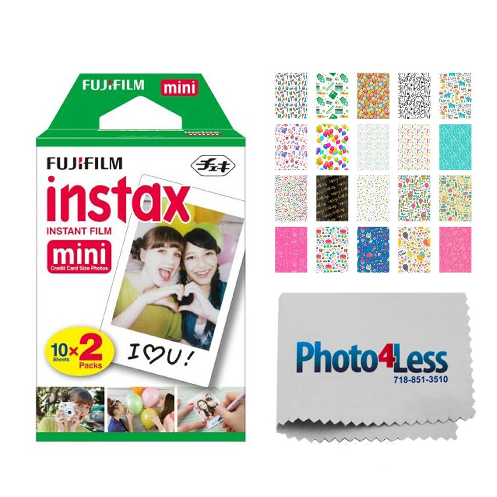 Fujifilm instax mini Instant Film (20 Exposures) + 20 Sticker Frames for Fuji Instax Prints Birthday Themed Package + Photo4Less Cleaning Cloth – Deluxe Accessory Bundle