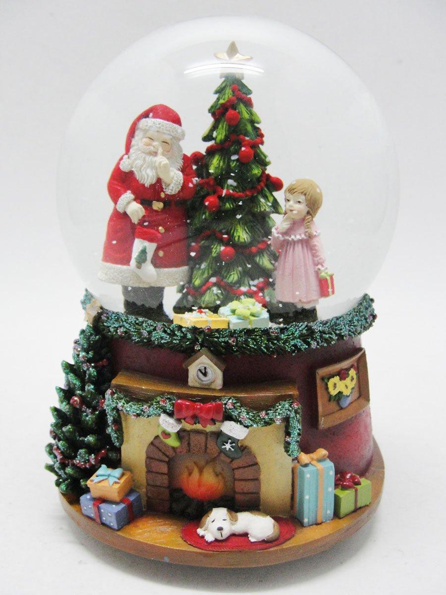 Palla di neve Babbo Natale & ragazza all'albero di Natale MMM GmbH 55075