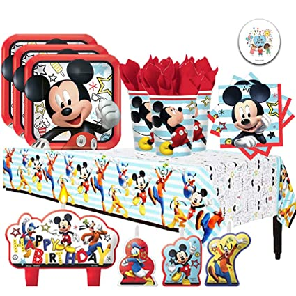 Another Dream Disney Mickey Mouse On The Go Birthday Supplies Party Pack for 16 Guests with Plates, Napkins, Cups, Tablecover, Candles, and Exclusive ...