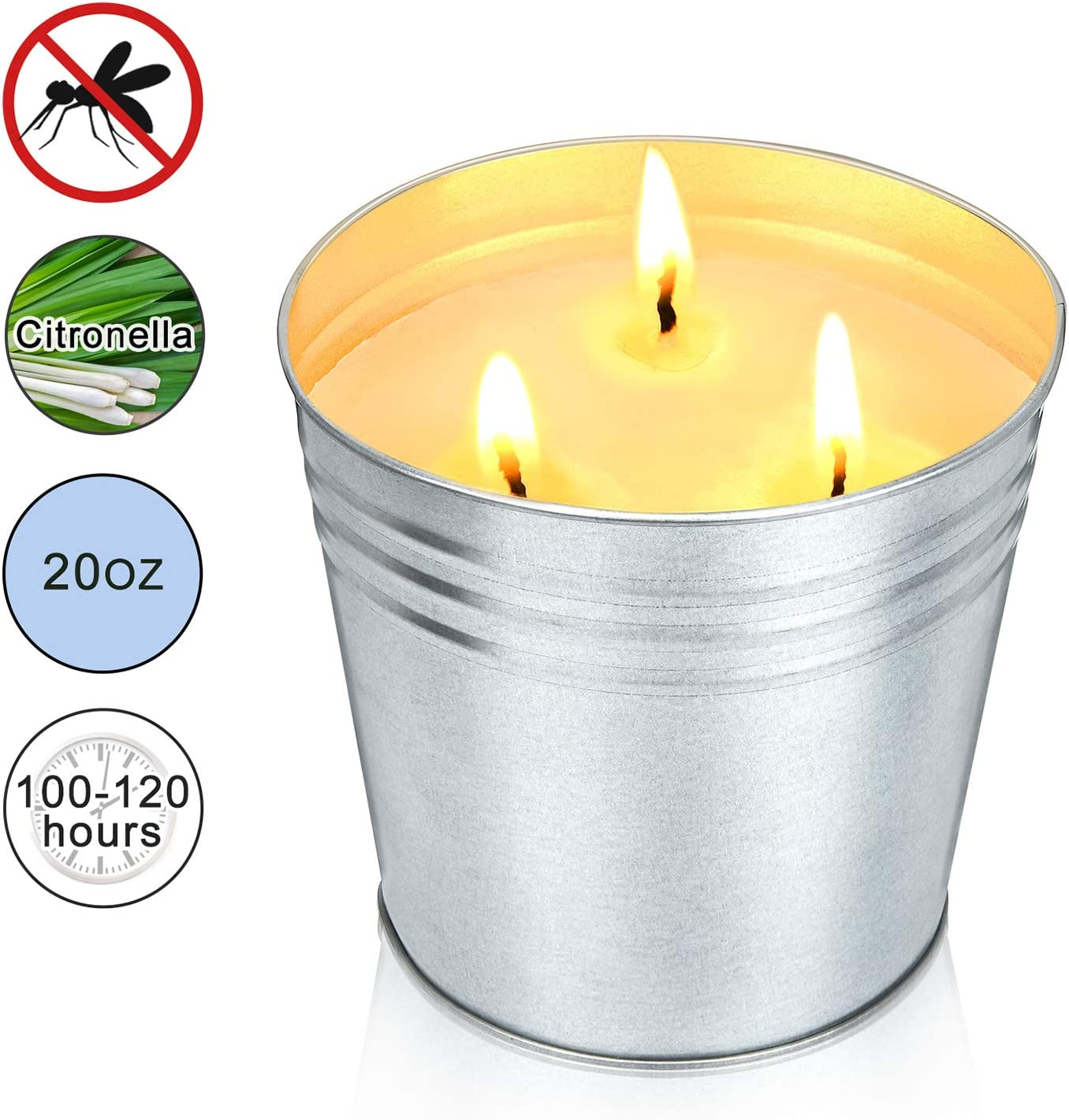 MEIGAO 20 Oz 3-Wick Citronella Scented Candles Soy Wax Bucket Candle Seaside Escape Indoor and Outdoor