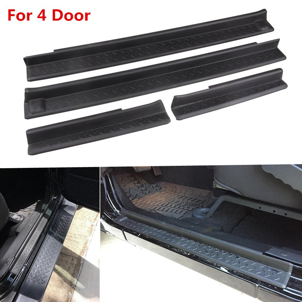 AVOMAR Front and Rear Entry Guards Door Entry Sill Plate Protectors For 2007-2016 Jeep Wrangler 4 Door AVOMARR