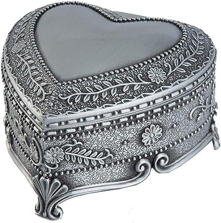 CVERY Joyero Vintage, con Forma de corazón Antiguo, Caja de Metal con Interior de Terciopelo Suave para Guardar Pendientes y Otras Joyas pequeñas, Show, 8 x 8 x 5 cm: Amazon.es: Hogar