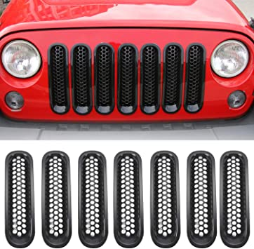 Moonet Chrome Black Front Grill with Mesh Grille Insert Kit Trim for 2007 2008 2009 2010 2011 2012 2013 2014 2015 2016 2017 2018 Jeep Wrangler JK Black 2 4 Door 7pcs