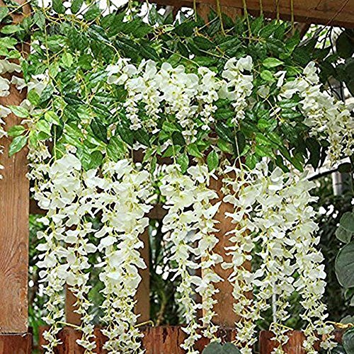 Flowers Decor Silk (BJH 12 Pack 3.6 Feet/Piece Artificial Fake Wisteria Vine Ratta Hanging Garland Silk Flowers String Home Party Wedding Décor)