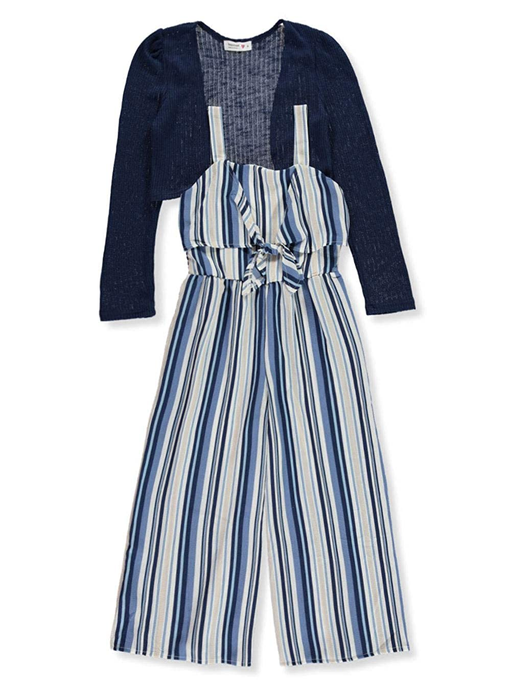 Beautees Girls Striped Jumpsuit with Cardigan Shrug