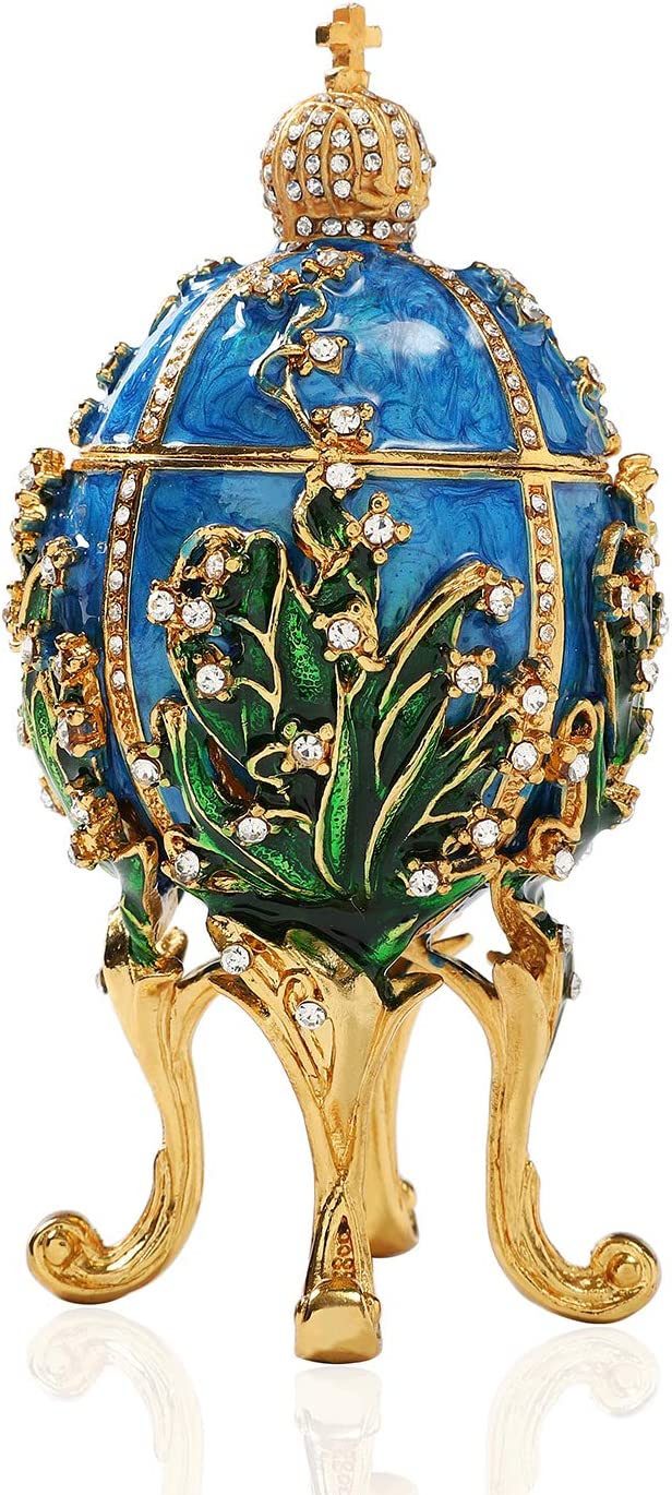 QIFU Hand Painted Enameled Faberge Egg Style Decorative Hinged Jewelry Trinket Box, Unique Gift Home Decor, Best Ornament Your Collection