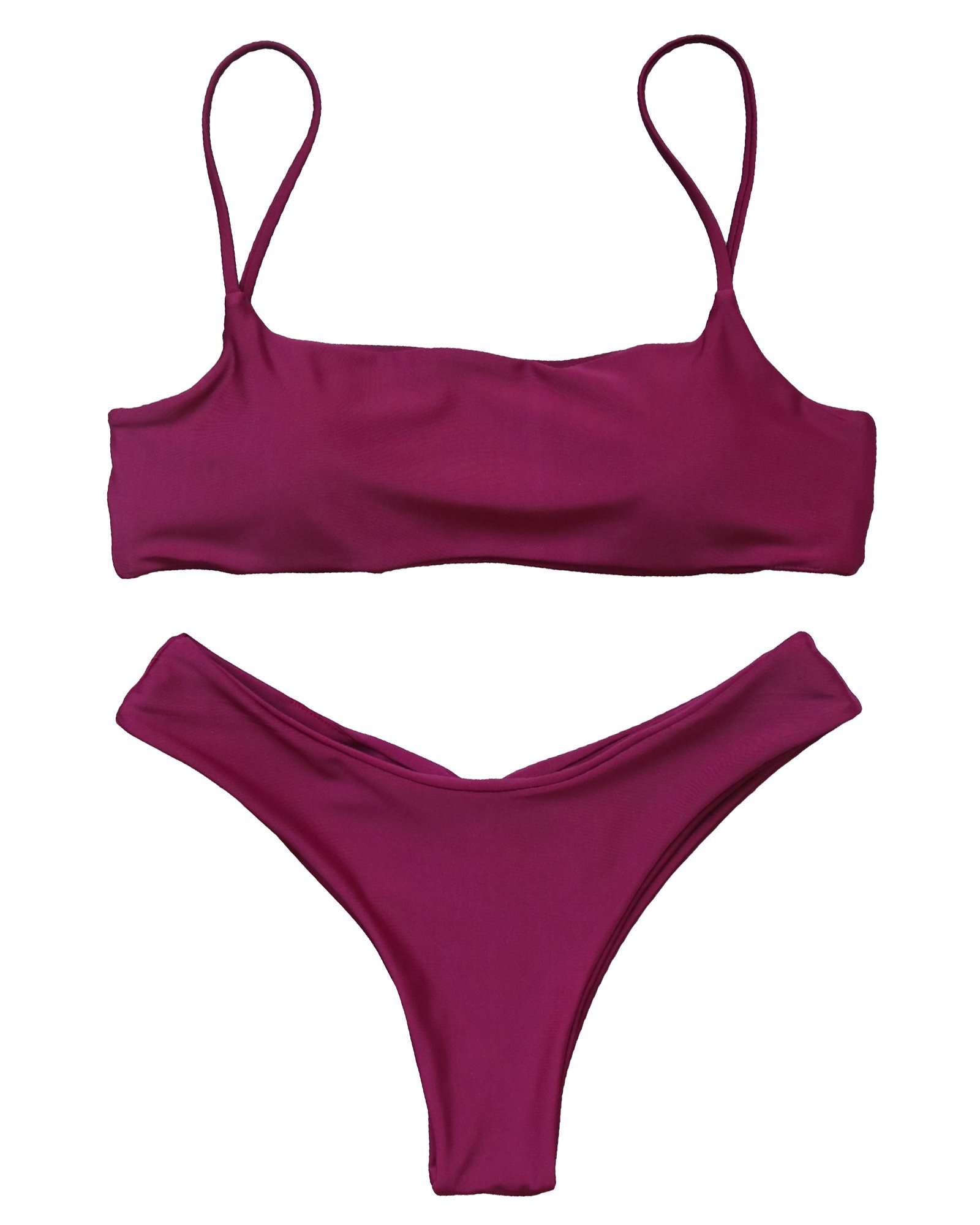 5ee826a2019c0 Galleon - RUUHEE Women Brazilian Push Up Padded Ruched Solid Color 2 Piece  Swimsuits Bikini (L(US Size 6-8)