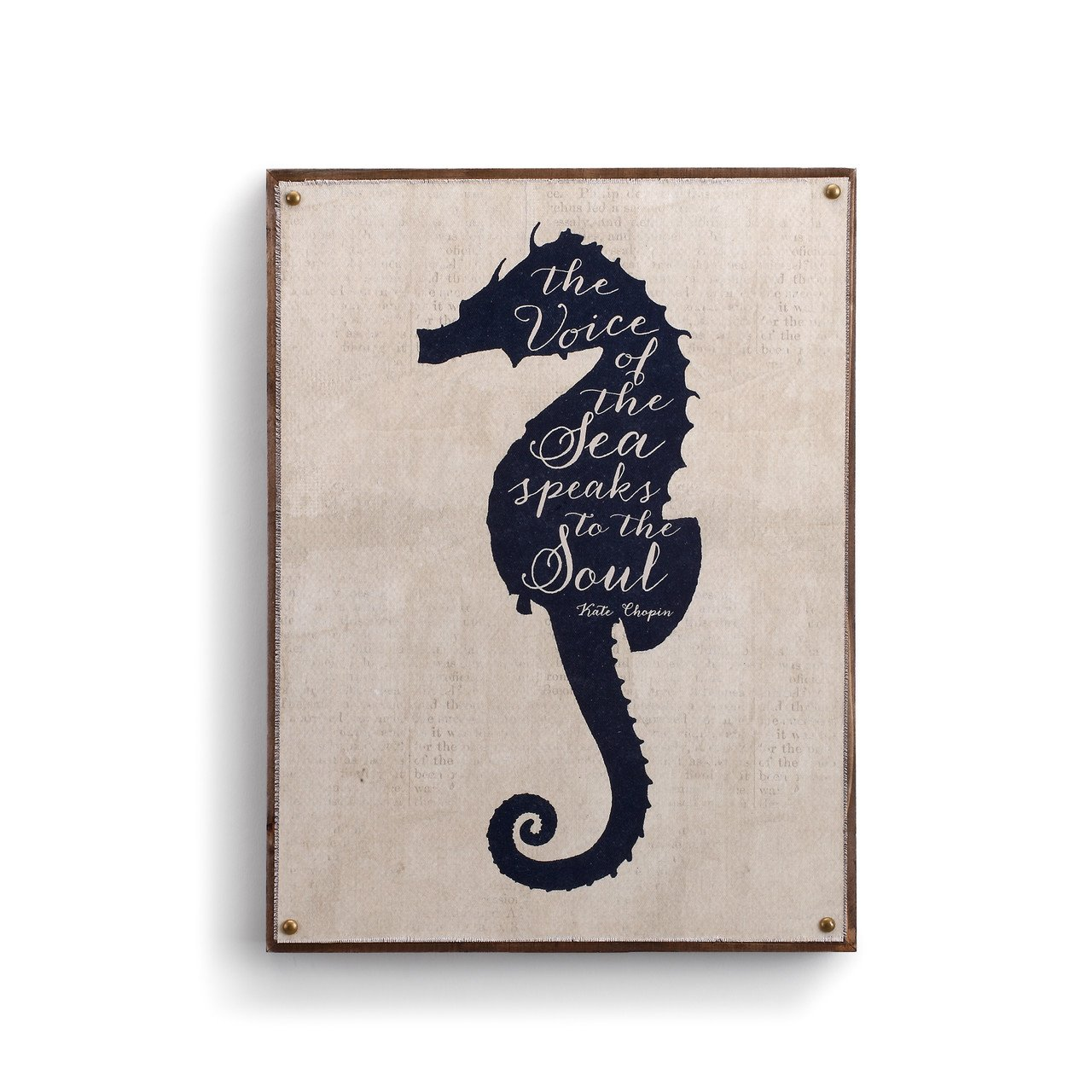 DEMDACO Sea Horse Rustic White 16 x 12 Wood Composite Canvas Wall Art Plaque Sign