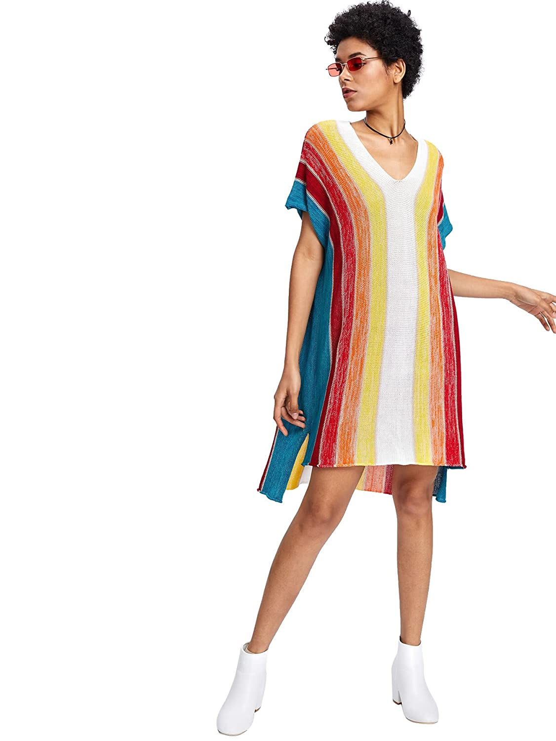 5dec85685967c Romwe Women's Short Sleeve Top Loose Fit Striped Color Block Rainbow Print  Step Hem Dress M at Amazon Women's Clothing store: