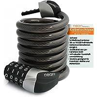 NEAN Câble antivol pour Vélo avec Code à Chiffres à Combinaison Noir 12 x 1800 mm