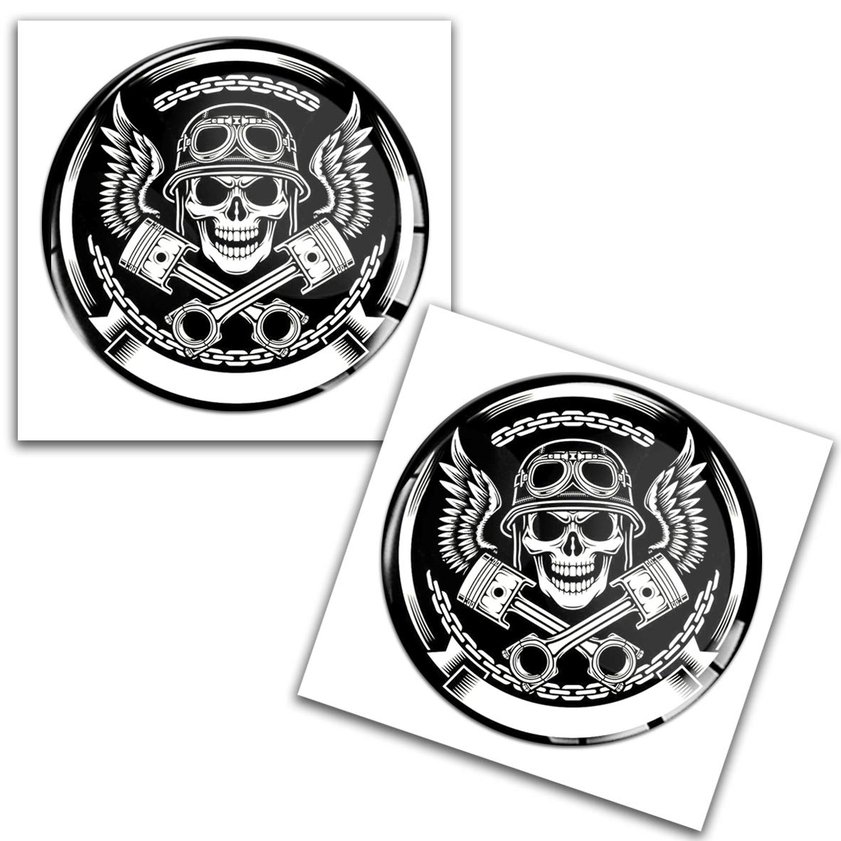SkinoEu/® 2 x Adesivi Resinati 3D Gel Stickers Teschio Cranio Skull per Moto Motociclo Auto Finestr/ìno Porta Casco Scooter Skateboard Bici PC Laptop Tablet Tuning JDM KS 4