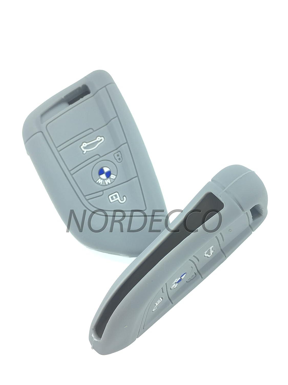 Haute en silicone sans cl/é Smart 3/boutons pour cl/é Housse de protection BMW 2/Series X1/X5/X6/F15/F22/F45/F46/2014/2015/2016/Nouvelle S/érie 7/2017/ Gris