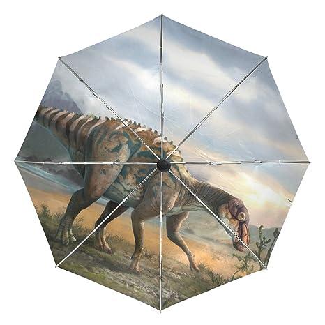 COOSUN Dinosaurio Arte automático 3 Plegable del Paraguas del Parasol Color # 002