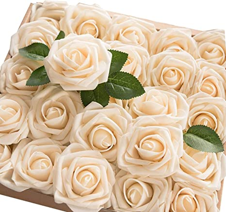 Amazon Com 60pcs Artificial Flowers Roses Real Touch Fake Roses For Diy Wedding Bouquets Bridal Shower Party Home Decorations Cream Kitchen Dining