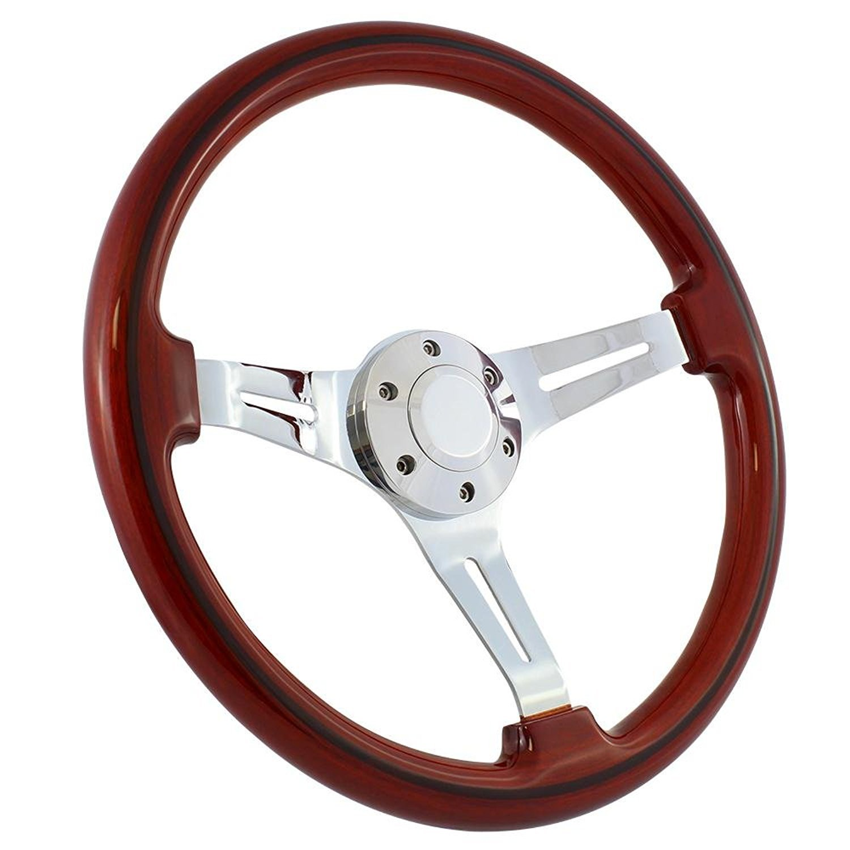 New World Motoring 14 Inch Slotted 3 Spoke Steering Wheel Riveted Light Wood Grip