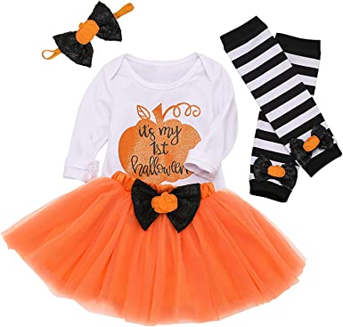 Leg Warmers with Headbands 4Pcs Dress Outfit Set. My First Halloween Newborn Baby Girls Clothes Romper Bow Tutu Short Skirt