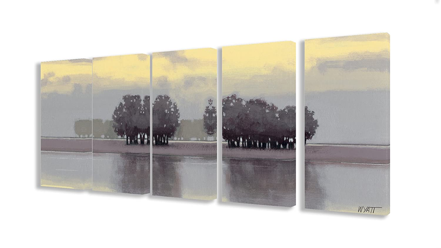 The Stupell Home Decor Collection Trees on a Lake 5-Piece Wall Art Set on Canvas
