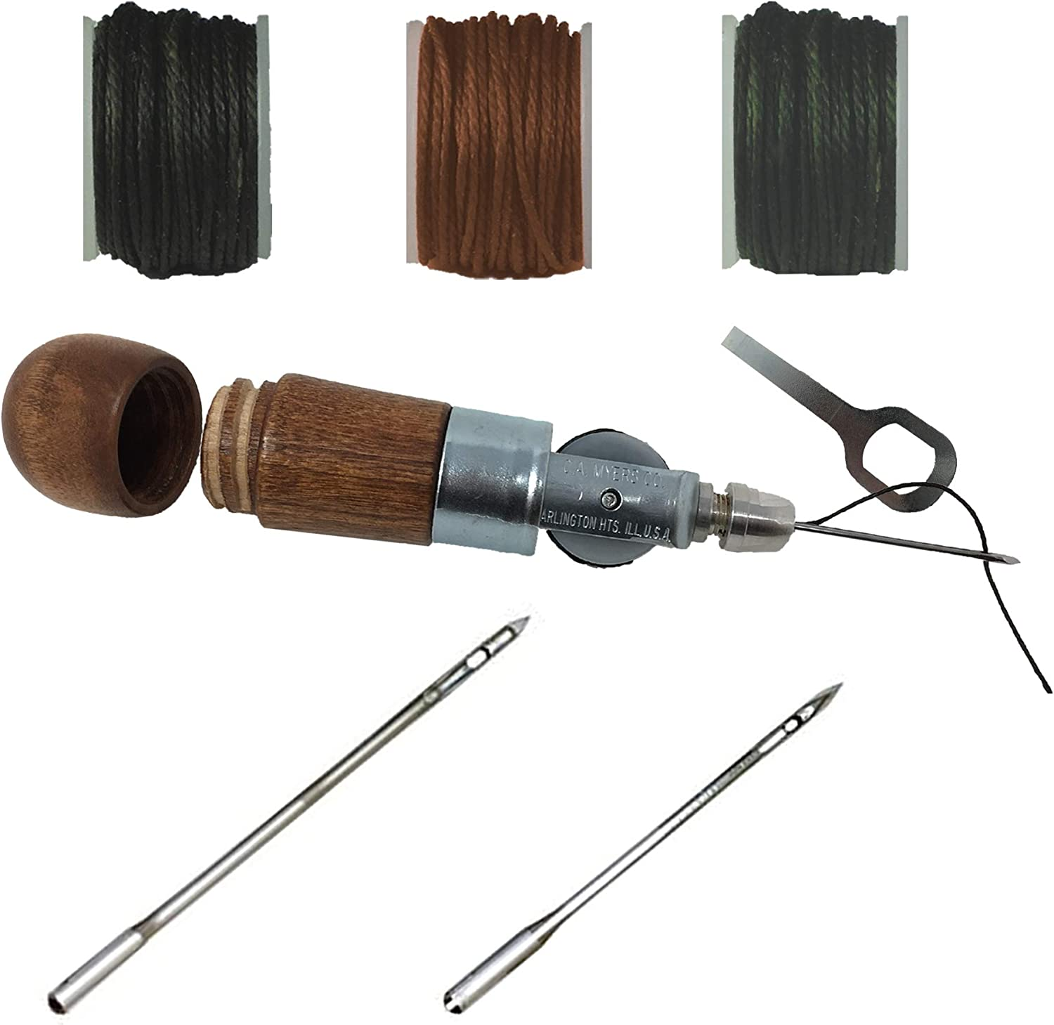 Leathercraft Automatic Lock Sewing Awl 4 Spare Reel Waxed Cotton Thread Tool Set