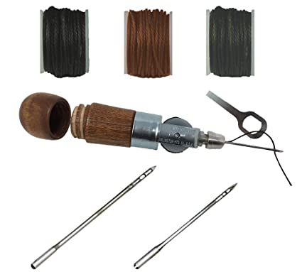 Handheld Sewing Awl Tool for Military Garments, Lock Stitching Tool Kit for  Army Fabric, Canvas, and Leather - Made in USA - (3 Thread Colors)