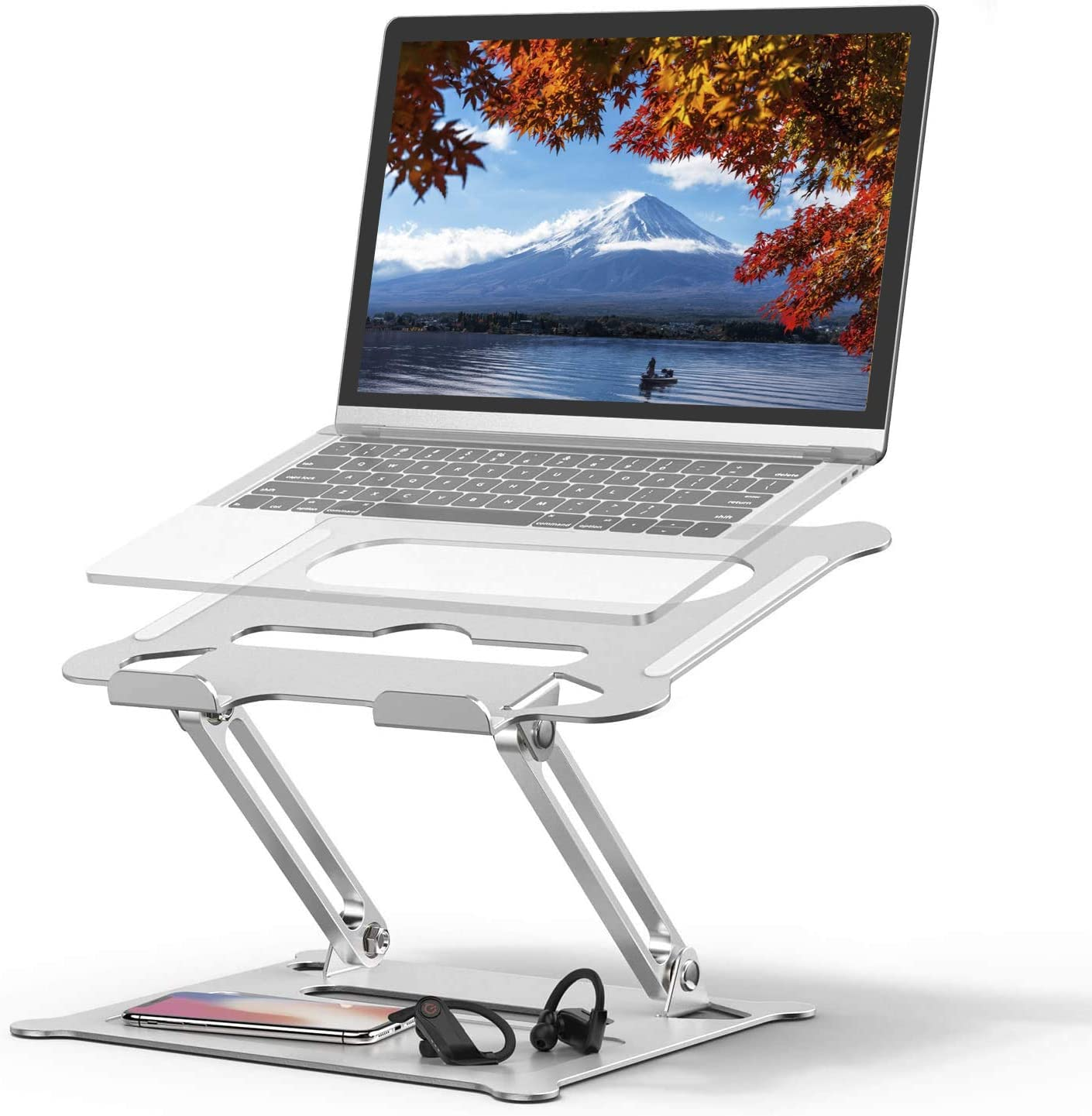 """Laptop Stand Holder, Ergonomic Adjustable Notebook Stand Riser with Vents, Portable Foldable Stand with MacBook Air Pro, Dell, HP, Lenovo Light Weight Aluminum Up to 17""""(Silver)"""