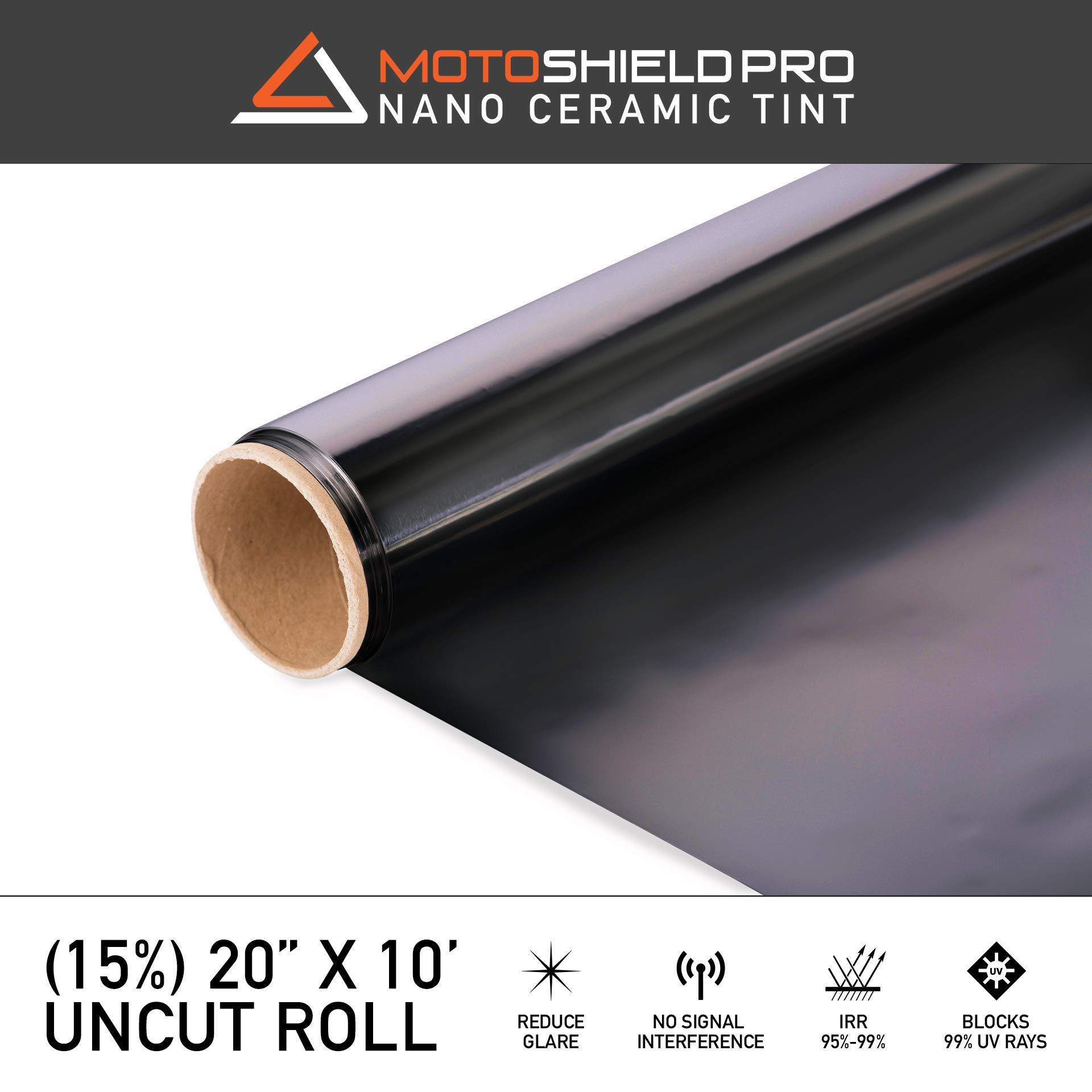 MotoShield Pro Ceramic Tint Film [Blocks Up to 99% of UV/IRR Rays] 20 Inches x 10 Feet - Window Tint Film Roll (15%)