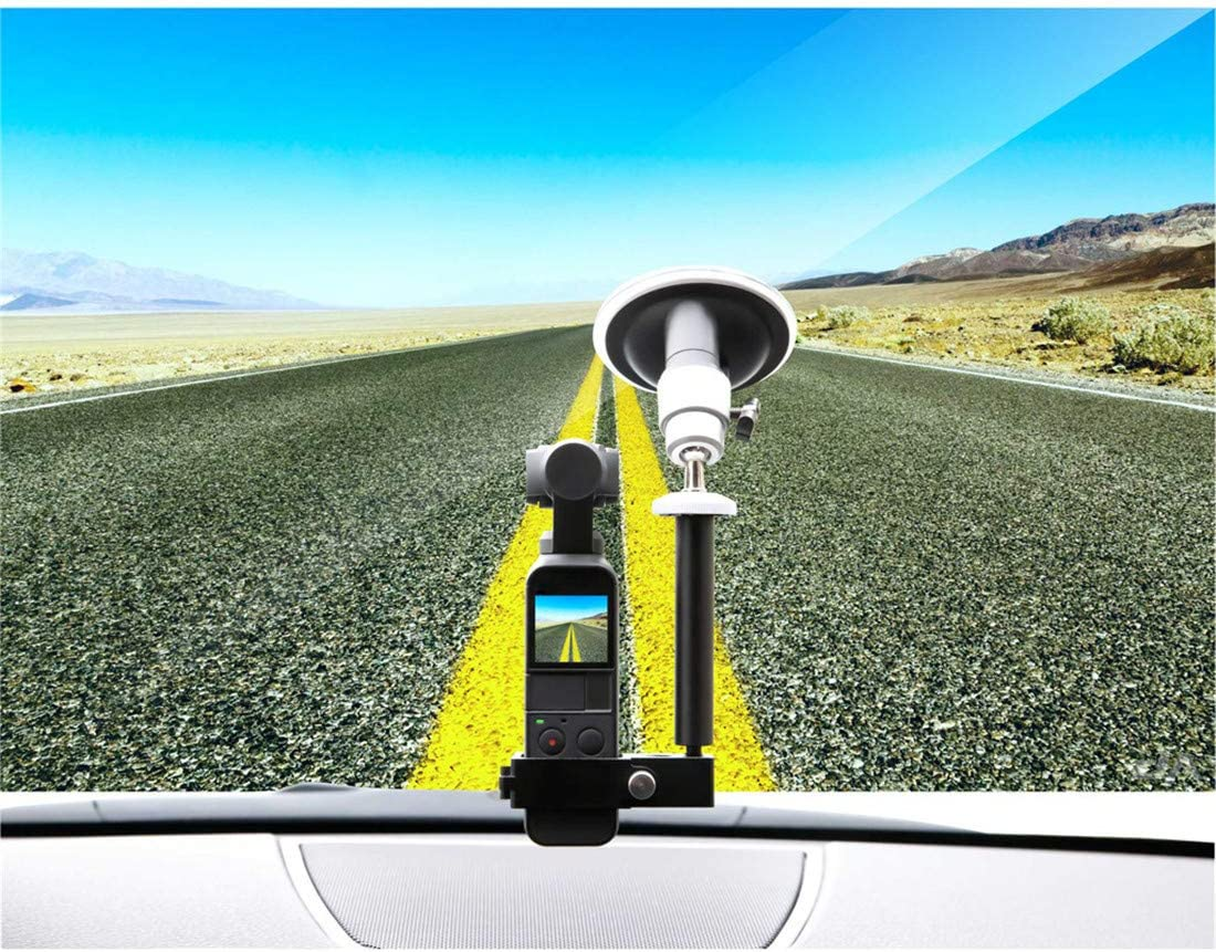 jiumoji Compatible with DJI Osmo Pocket Vehicle Windshield 360/° Adjustable Suction Cup Car Mount 1//4 Bracket Holder