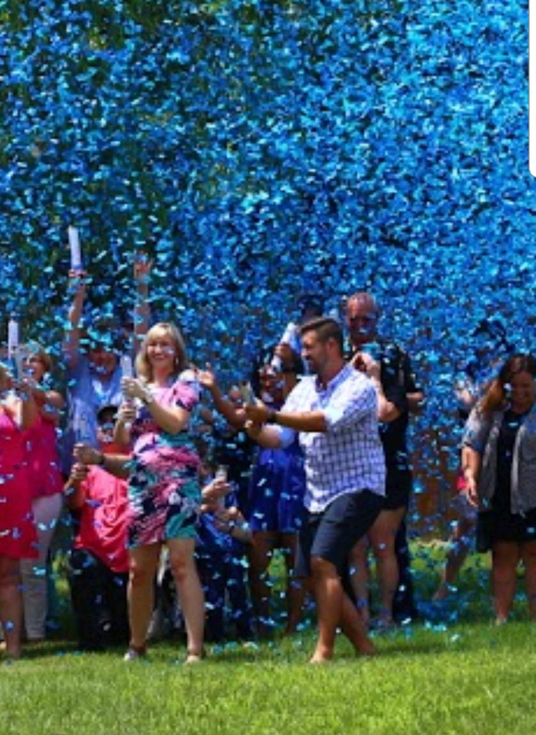 Gender Reveal Confetti Cannons Package (2 Pink & 2 Blue) | Pink and Blue Confetti Poppers | 8 Free Gender Reveal Party Balloons by Gender Reveal Surprise (Image #2)
