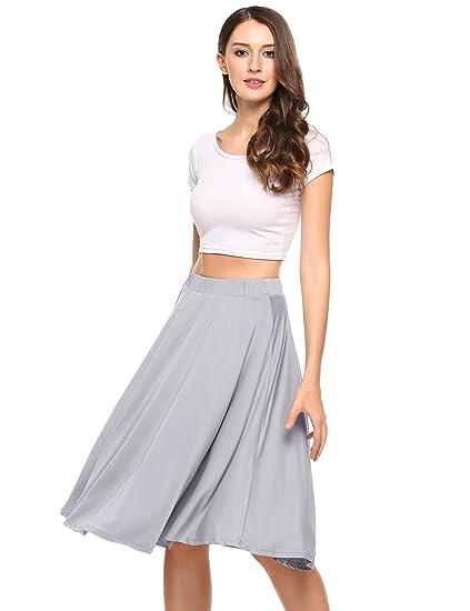 959a28952d Shine Women's A Line Street Swing Skirt Skater Pleated Knee Length Skirt  with Elastic Waist Grey