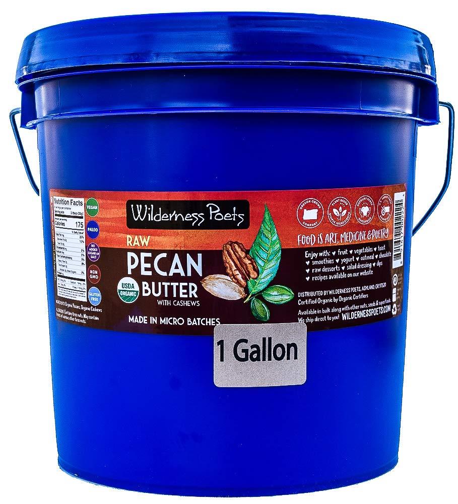 Wilderness Poets Pecan Butter - Organic & Raw - Bulk Nut Butter - 1 Gallon (136 oz) 8.5 lb