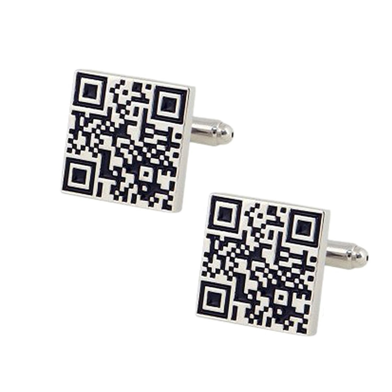 The Jewelbox QR Code White & Black Rhodium Brass Cufflink Formal Shirt Blazer Suit Cufflinks Pair Men Gift Box