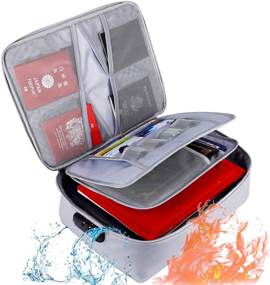 Fireproof Document Organizer Bag with Lock,File Bag for Home Office Travel Safe Bag,Waterproof and Fireproof Up to 2500℉, Storage Pouch for A4 A5 Files, Cash, Passpot,Tablet,Multi-Layer Portable