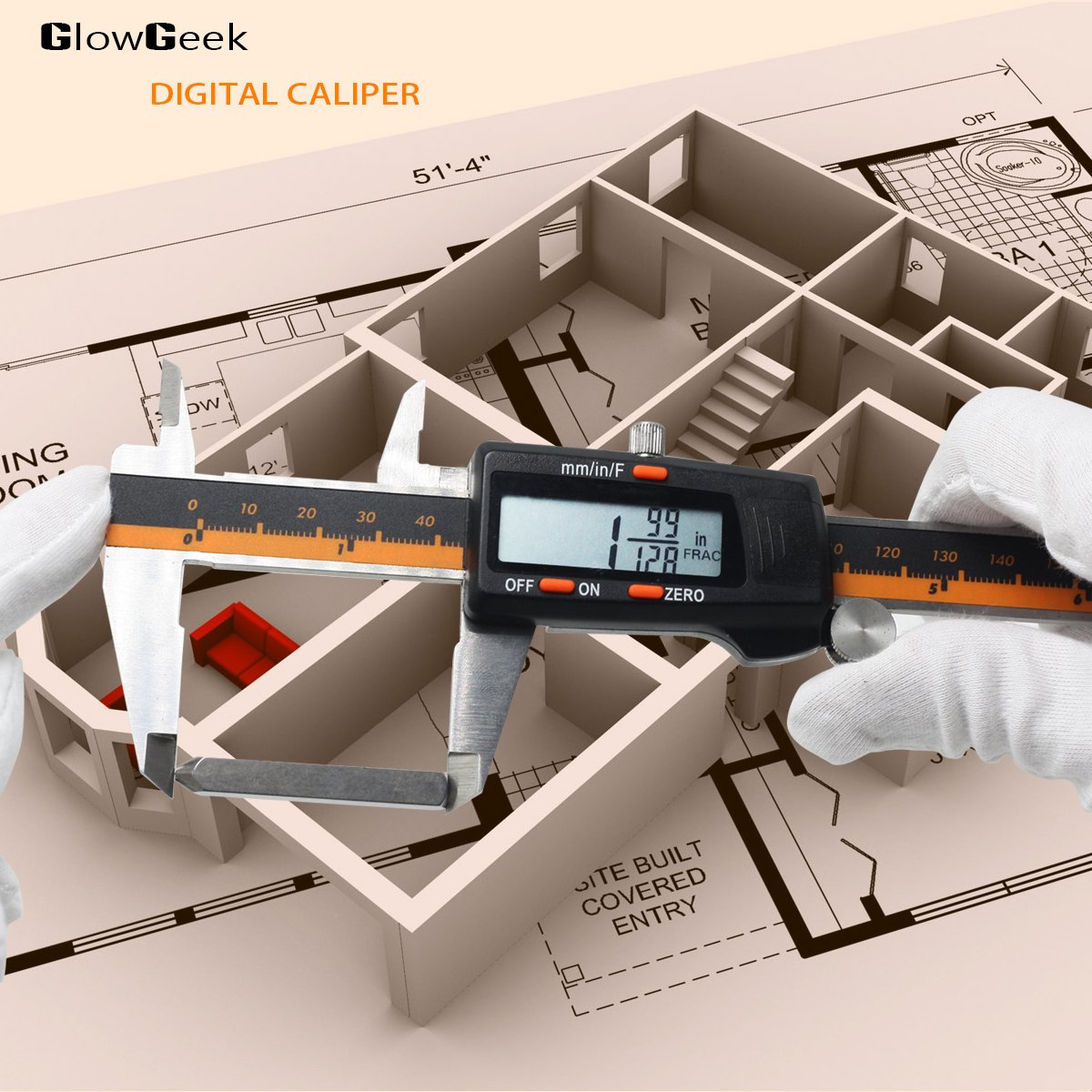 GlowGeek Electronic Digital Caliper Inch/Metric/Fractions Conversion 0-6 Inch/150 mm Stainless Steel Body Orange/Black Extra Large LCD Screen Auto Off Featured Measuring Tool by GlowGeek (Image #4)