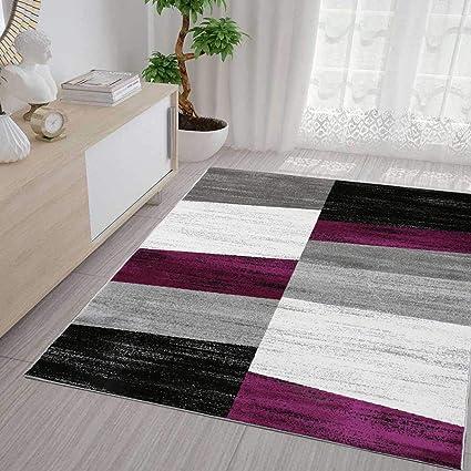 Vimoda Tapis de Salon Moderne à Motifs géométriques mélangés en Violet,  Gris, Blanc, Noir, 160 x 220 cm