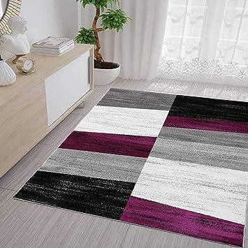 Salon Tapis Moderne Géométrique Motif moucheté en Violet Gris Blanc ...