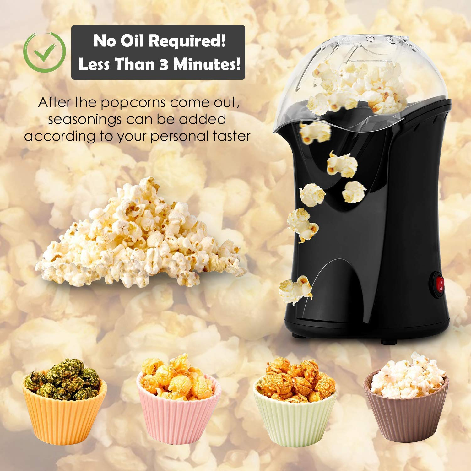 Homdox Hot Air Popper Popcorn Maker, 1200W Hot Air Popcorn Popper, Electric Popcorn Machine with Removable Lid for Home Use, No Oil Needed, Great for Kids (Black/1200W)