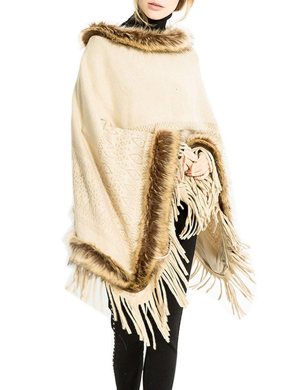 Women's Grey Faux Fur Neckline Hem Hooded Cloak Cape Warm Fringed Fashion Shawl Poncho WISREMT