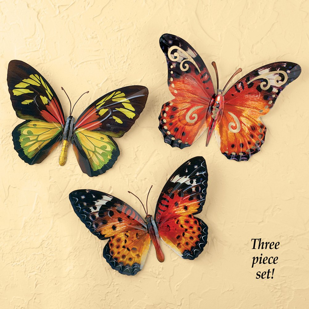 Charming Wall Decor Butterflies Metal Gallery - The Wall Art ...