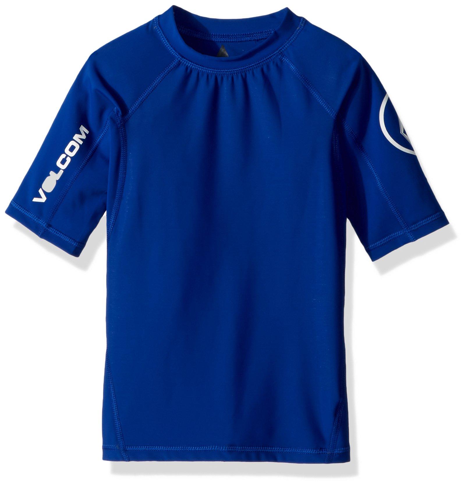 Volcom Big Boys' Lido Solid Short Sleeve Rashguard, Camper Blue, M