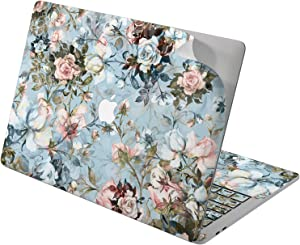 "Cavka Vinyl Decal Skin for Apple MacBook Pro 13"" 2019 15"" 2018 Air 13"" 2020 Retina 2015 Mac 11"" Mac 12"" Watercolor Laptop Cover Spring Blossom Cute Print Sticker Aesthetic Rose Protective Blue Design"
