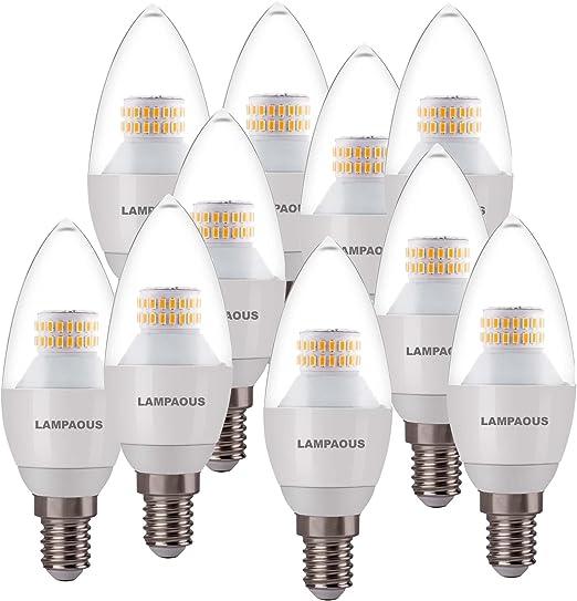 lampaous LED E14 vela bombilla blanco cálido bombillas E14 LED Leuchtmittel 6 W equivalente a para lámpara halógena de 60 W 2700 K 230 V AC 10 Pack: Amazon.es: Iluminación