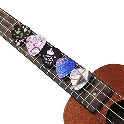 YoungRich 12 Guitar Picks Stylish Celluloid Picks Plectrums with 4 Thickness Marked on 0.46mm 0.71mm 0.96mm 1.20mm Free Bonus Round Tin Box Picks Holder Best Gift for Electric Acoustic Bass Guitar