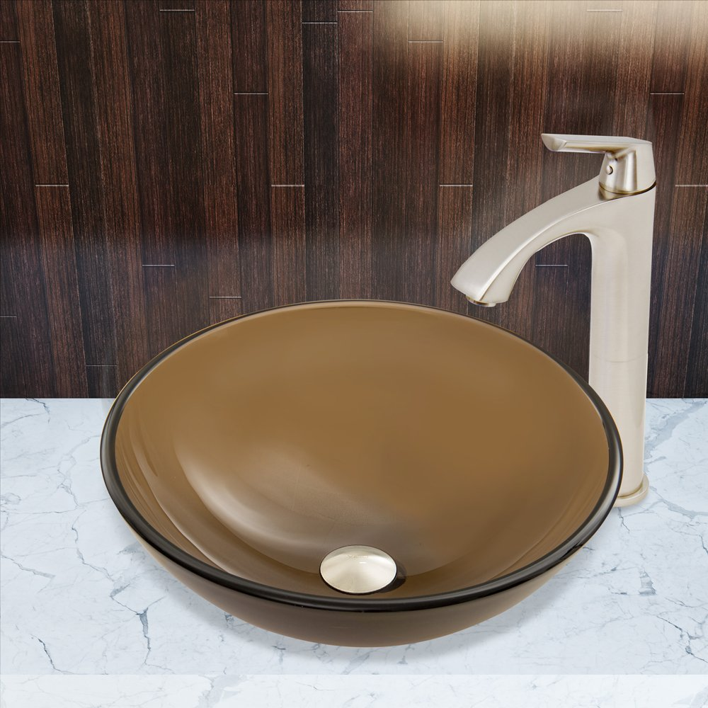 Brushed Nickel VIGO Sheer Sepia Frost Glass Vessel Bathroom Sink and Linus Vessel Faucet with Pop Up