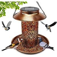 Solar Bird Feeder for Outside , Hanging Outdoor Solar Powered Garden Lantern Light Bird-House Wild Hanging Bird Feeder…
