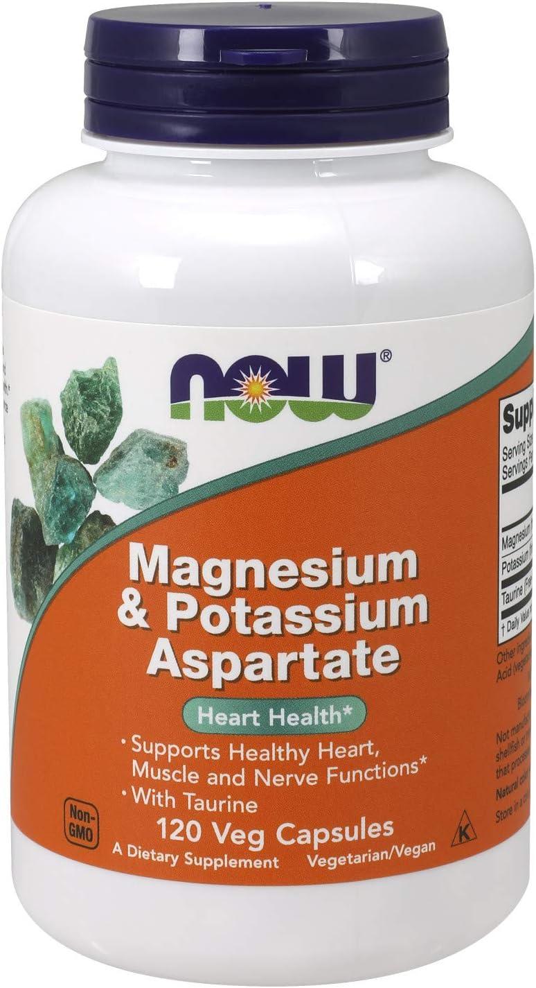 NOW Supplements, Magnesium & Potassium Aspartate with Taurine, 120 Veg Capsules: Health & Personal Care
