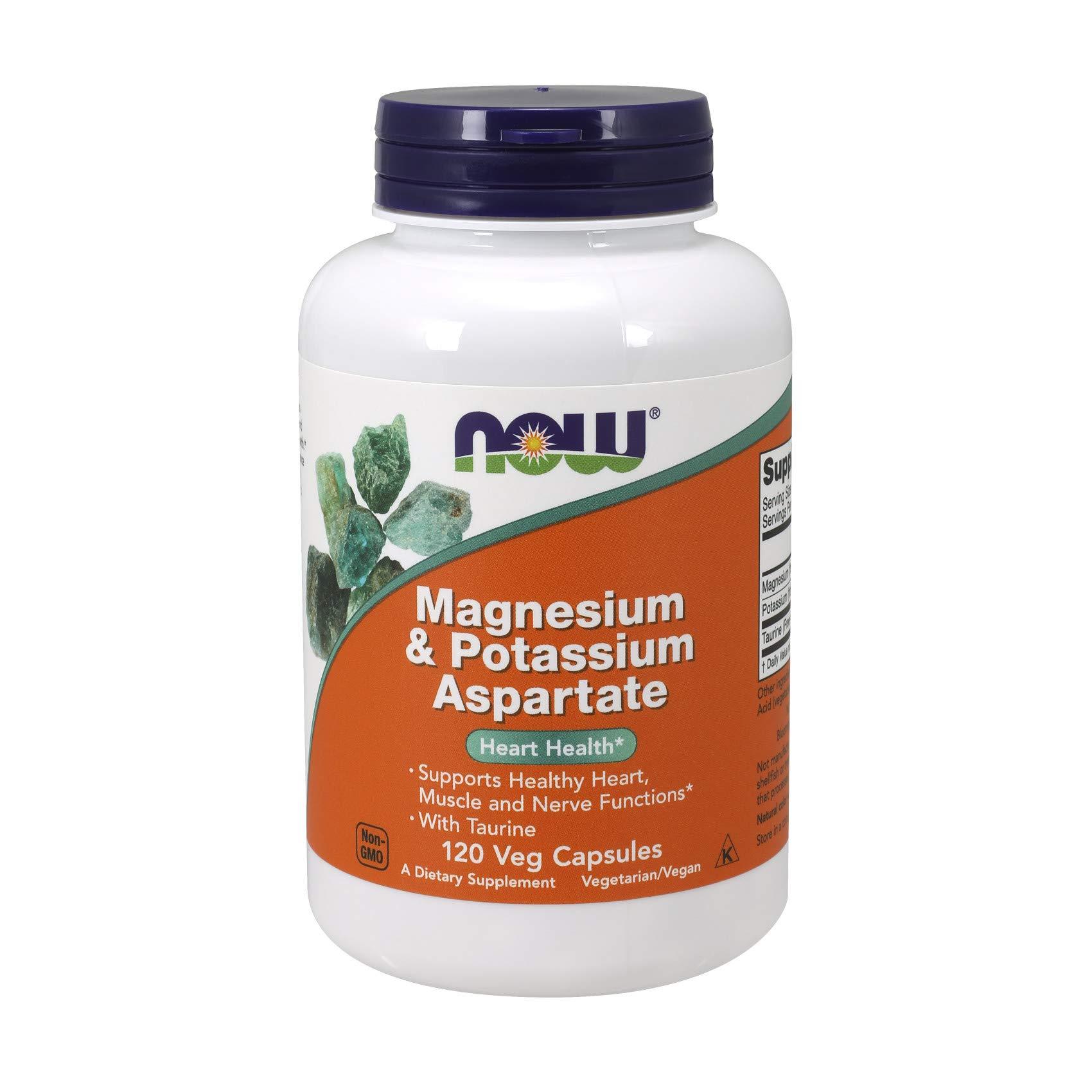 NOW Foods Supplements, Magnesium & Potassium Aspartate with Taurine, 120 Veg Capsules