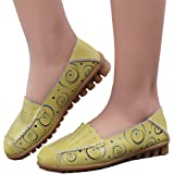 Huiyuzhi Womens Floral Print Hollow Out Leather Driving Loafers Slip On Flat Shoes