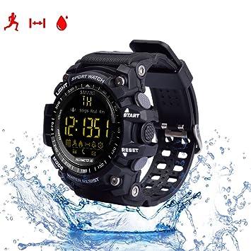 Reloj inteligente, con monitor cardiaco, resistente al agua IP67, Bluetooh, EX16, compatible con Android e IOS, color negro: Amazon.es: Deportes y aire ...